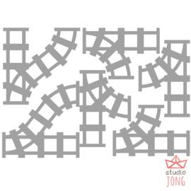 Sticker treinbaan wissels grijs