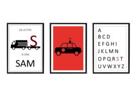 Naam posterset politie brandweer + alfabet (diverse kleuren)
