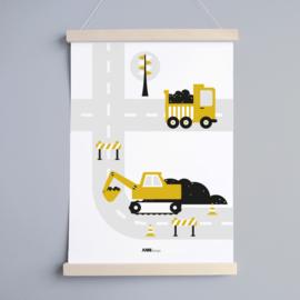 Poster voertuigen graafmachine kinderkamer - oker geel