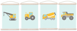 Poster set kinderkamer - 4x voertuig