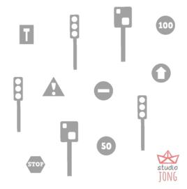 Autobaan sticker uitbreidingsset verkeersveiligheid grijs