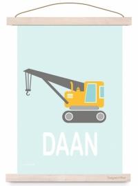 Poster kinderkamer kraanwagen auto met naam