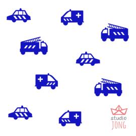 Autobaan sticker uitbreidingsset hulpdiensten voertuigen politie brandweer ambulance fel blauw