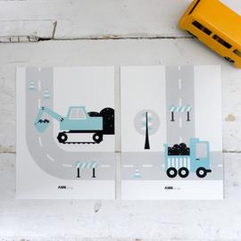 Posterset voertuigen graafmachine  kinderkamer - licht blauw