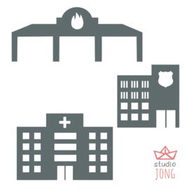 Autobaan sticker uitbreidingsset politiebureau brandweer kazerne ziekenhuis donkergrijs