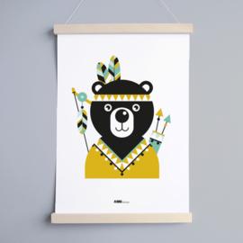 Poster beer indiaan kinderkamer - oker geel