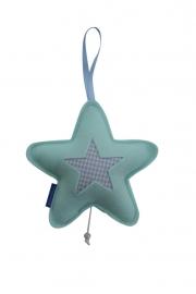 Ster hanger groot (mintgroen-lichtblauw) met muziekdoosje