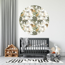 Muursticker rond - safari jungle kamer