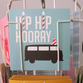 Verjaardagskaart VW bus blauw