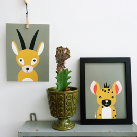Posterset safari jungle dieren Gazelle + Hyena - olijfgroen