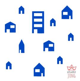 Autobaan sticker uitbreidingsset huisjes felblauw