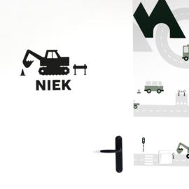 Deursticker - muursticker graafmachine kamer - kinderkamer   met naam (diverse kleuren)
