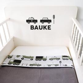 Ledikantdeken voertuigen olijf groen - wafelstof  donker grijs