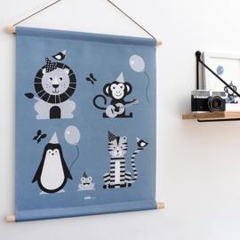 Textielposter Vrolijke dieren - jeans blauw