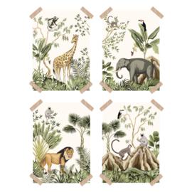 Posters jungle kinderkamer babykamer - set van 4