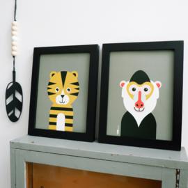 Posterset safari jungle dieren Tijger + Baviaan - olijf groen