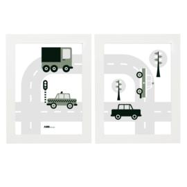 Posterset auto voertuigen  kinderkamer - olijfgroen