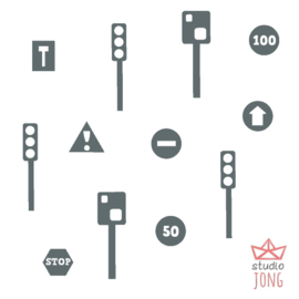 Autobaan sticker uitbreidingsset verkeersveiligheid donker grijs
