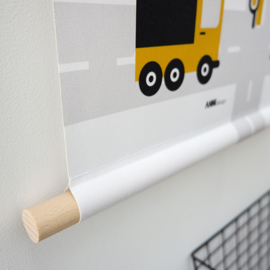 Textielposter voertuigen auto kinderkamer - oker
