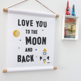 Textielposter Love you to the moon