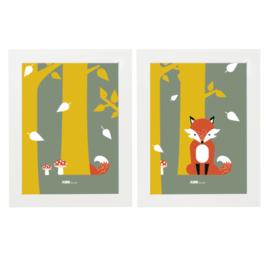Posterset kinderkamer vos - oker