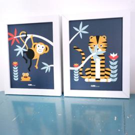 Posterset jungle  kamer aap + tijger - donkerblauw