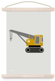 Poster kinderkamer voertuig kraanwagen - oker geel