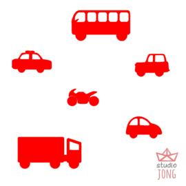 Autobaan sticker uitbreidingsset voertuigen rood