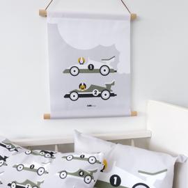 Textielposter kinderkamer raceauto -  grijs