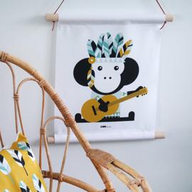 Textielposter aap indiaan kinderkamer - oker geel