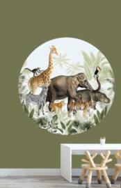 Behangcirkel dieren parade - jungle kamer