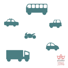 Autobaan sticker uitbreidingsset voertuigen petrol