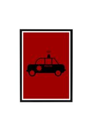 Poster kinderkamer politiewagen (diverse kleuren)