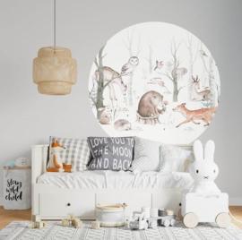 Behangcirkel bosdieren babykamer
