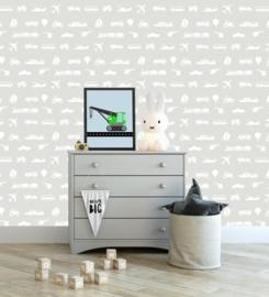 Voertuigen behang kinderkamer - grijs