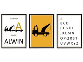 Naam posterset takelwagen + alfabet (diverse kleuren)