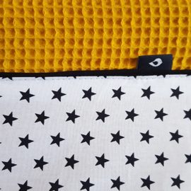Aankleedkussenhoes wafelstof oker - ster zwart