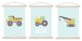 Poster set jongenskamer - kiepwagen + kraanwagen + tractor oker + naam