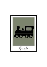 Poster kinderkamer trein met naam (diverse kleuren)