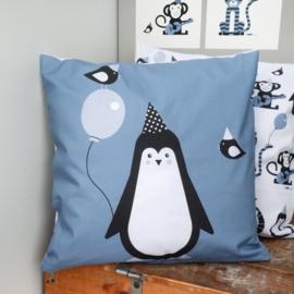 Kussen Pinguin  jeans blauw - inclusief binnenkussen