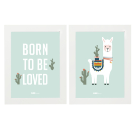 Posterset kinderkamer lama + born to be loved - mint