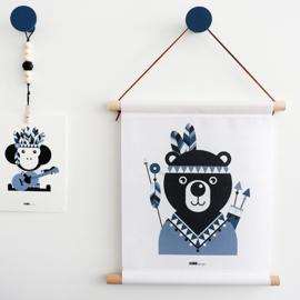 Textielposter beer indiaan kinderkamer - jeans blauw