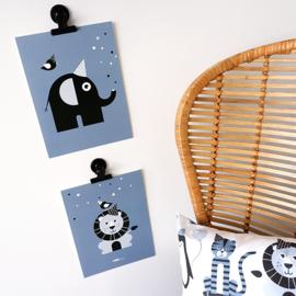 Posterset babykamer vrolijke dieren - jeans blauw