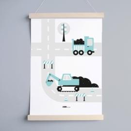 Poster voertuigen graafmachine kinderkamer - lichtblauw