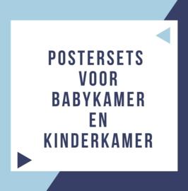 Postersets voor babykamer en kinderkamer - inspiratie + styling ideeën