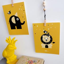 Posterset babykamer vrolijke dieren - oker geel