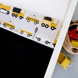Ledikantdeken voertuigen oker geel - wafelstof  zwart