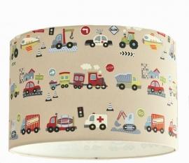 Lamp jongenskamer met voertuigen (beige) UITVERKOCHT