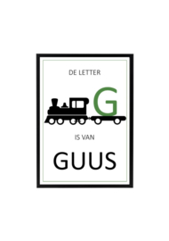 Naam poster kinderkamer trein (diverse kleuren)