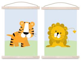 Poster set jungle kamer - leeuw + tijger